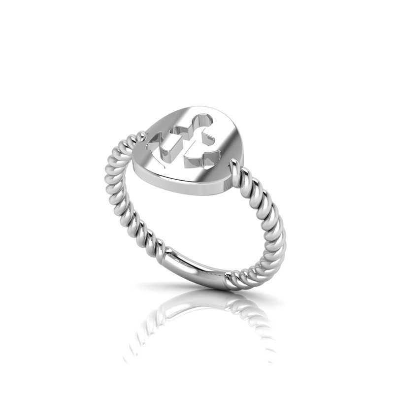 Ladies Anchor And Rope Ring