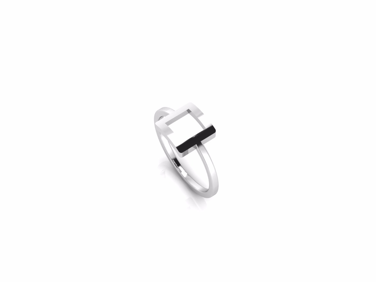Sterling Silver Square Geometric Ring