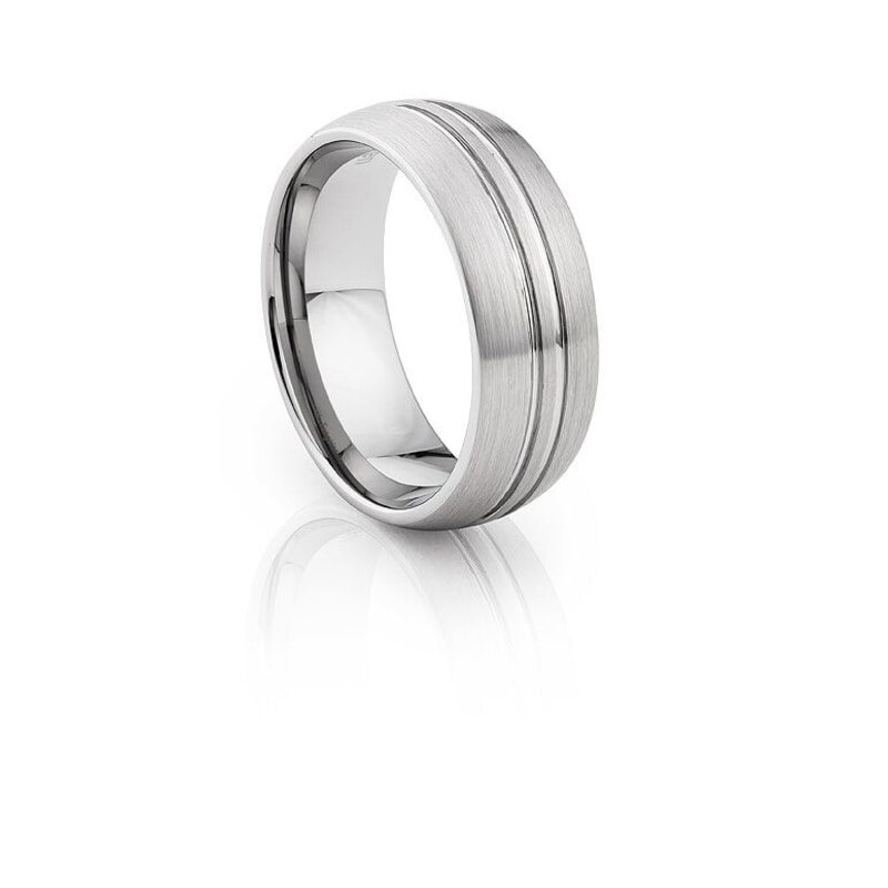 Tungsten Carbide Silver Brushed Effect.