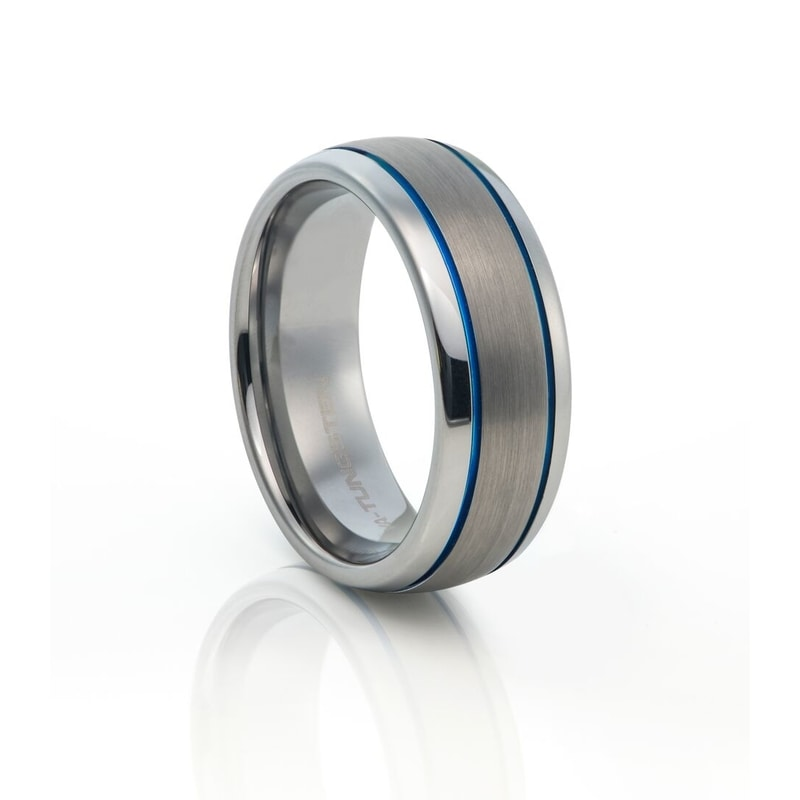 Tungsten Carbide Brushed Metal With Blue Plated  Lines