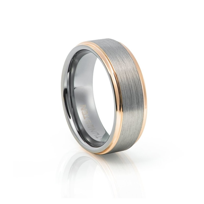 Tungsten Carbide Brushed With Rose Gold Edges
