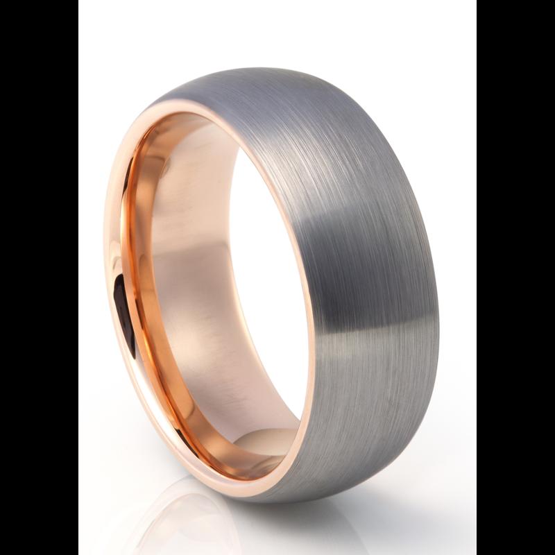 Tungsten Carbide Brushed Metal With Rose Gold Plating