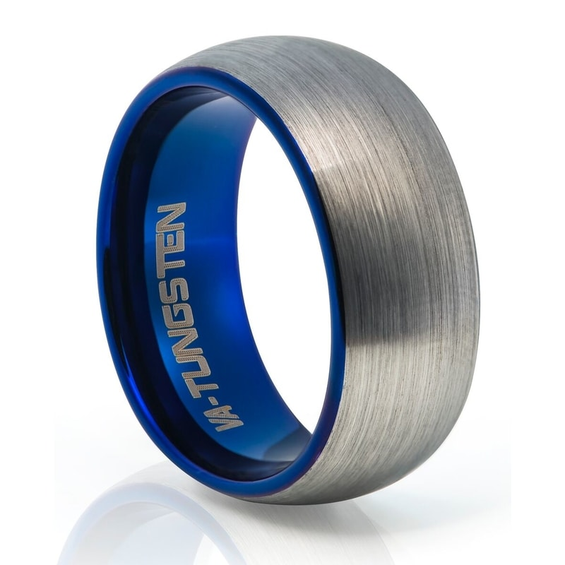 Tungsten Carbide Brushed Metal With Blue Plating
