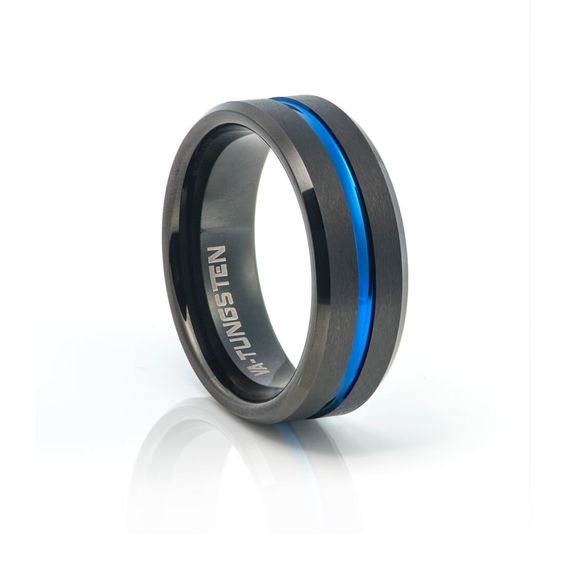 Tungsten Carbide With Matt Black Plating & Blue Inlay