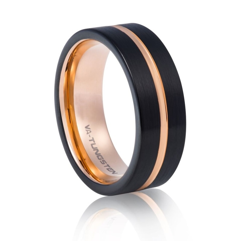 Tungsten Carbide Matt, Black & Rose Gold Plating