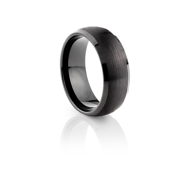 Tungsten Carbide Black Plating Brushed & Polished