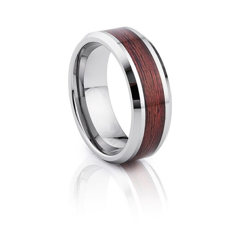 Tungsten Carbide With Bevelled Edges And Red Wood Inlay
