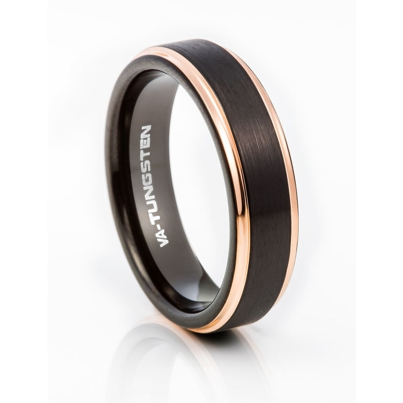 Tungsten Carbide Black Plated With Rose-gold Edges